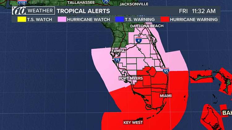 A hurricane warning means hurricane-force winds (74 mph or greater) are expected within 36 hours. A hurricane watch means hurricane-force winds are possible within 48 hours.