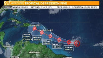 Track Tropical Depression 5: Spaghetti models, cone of uncertainty and more