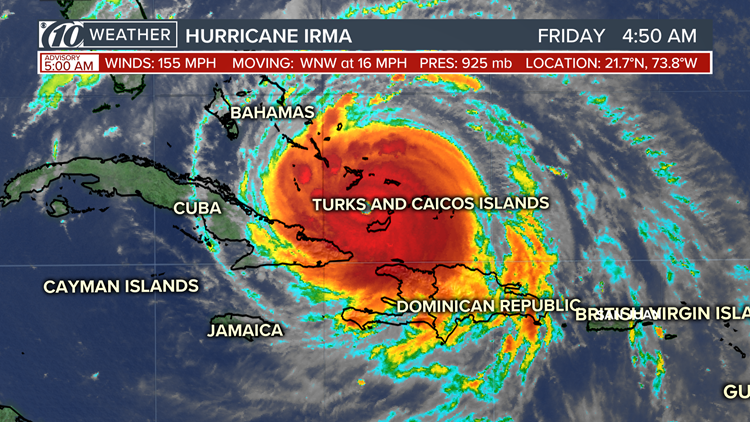 The extremely dangerous and potentially life-threatening Hurricane Irma is pushing its way toward the Florida coast Friday, Sept. 8.