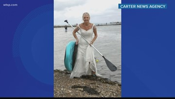 Woman is getting the most out of her wedding dress