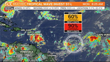 Tropical disturbance has a 90% chance of developing in the next 5 days