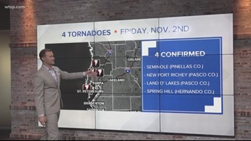 National Weather Service confirms 4 tornadoes Friday in Tampa Bay area