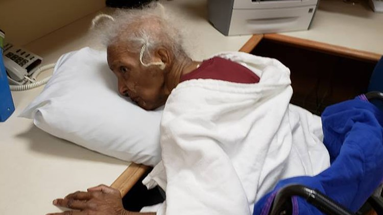 Elderly woman found slumped over and alone at a nursing home facility