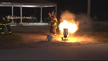 Tampa Bay area fire departments provide live demonstrations on holiday fire safety
