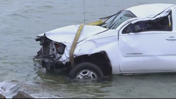 Pick-up truck crashes off Courtney Campbell Causeway