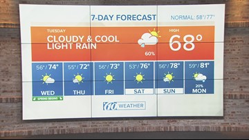 Cloudy and cool with light rain | Weather update from 10News WTSP