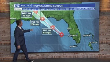 Tracking Tropical Storm Gordon: Gordon strengthens in the Gulf as it moves away from Florida