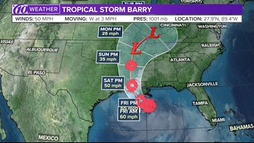 Tropical Storm Barry gains some strength