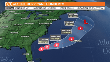 Hurricane Humberto strengthens, packing 85-mph winds