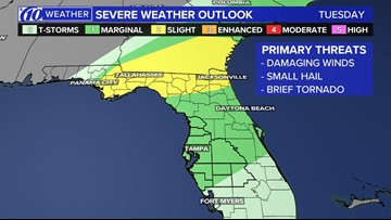 Severe storms possible across Tampa Bay tonight