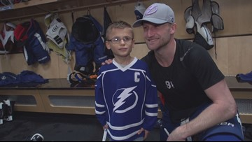 Child losing sight gets to skate with Lightning players