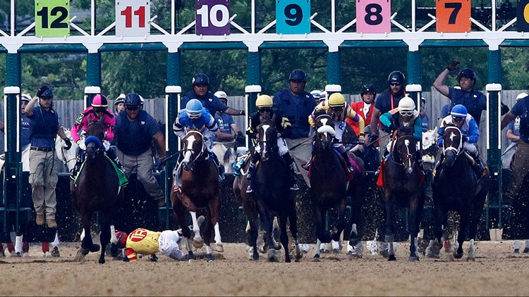 Watch a horse toss his jockey and keep running the Preakness without him