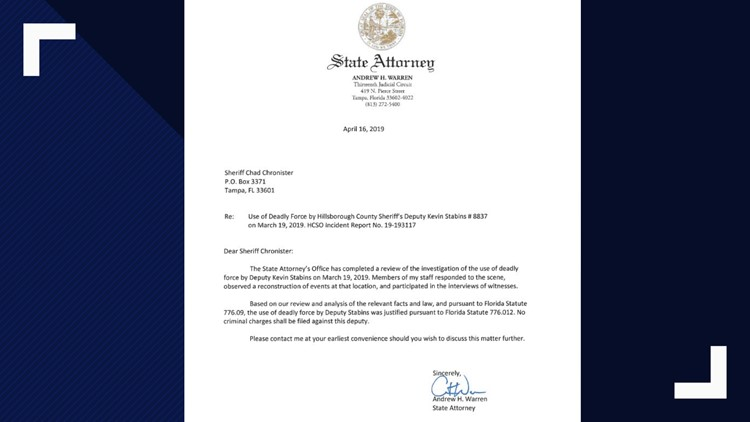 State Attorney's letter justifying the use of force by Deputy Kevin Stabins