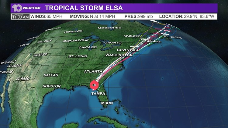 LIVE MAPS: Tropical Storm Elsa spaghetti models, tracking cone and more