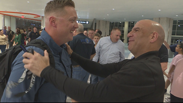 Soldier promoted by Tampa police during deployment returns home