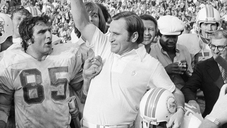 Don Shula carried off the field after the Dolphins victory in Super Bowl 7