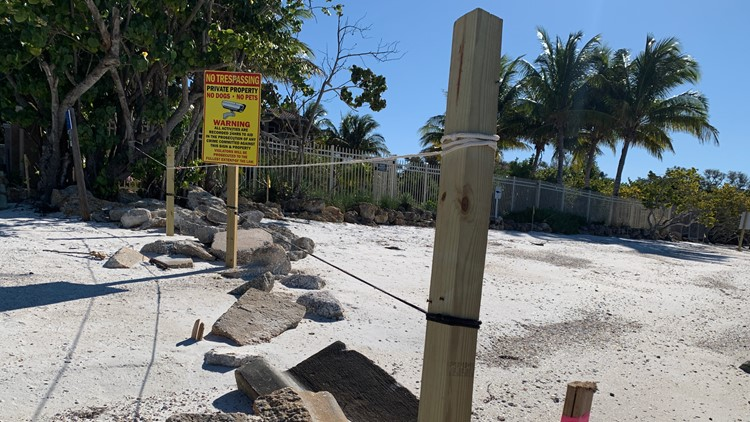 Sarasota County tells homeowners to remove rope fence from Shell Road Beach