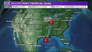 Tropical Storm Olga weakens to become a post-tropical cyclone