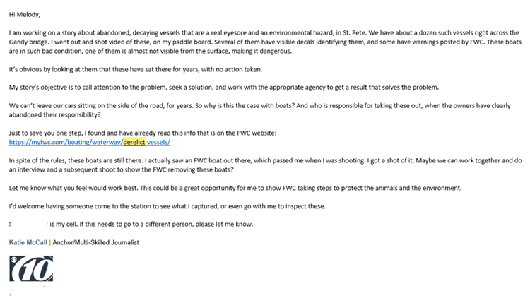 Katie McCall's email to FWC concerning abandoned boats