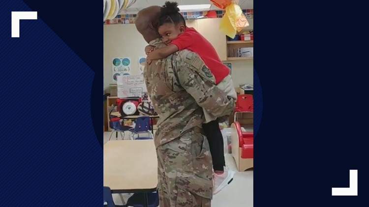 This Air Force dad came home early to surprise his daughter at preschool