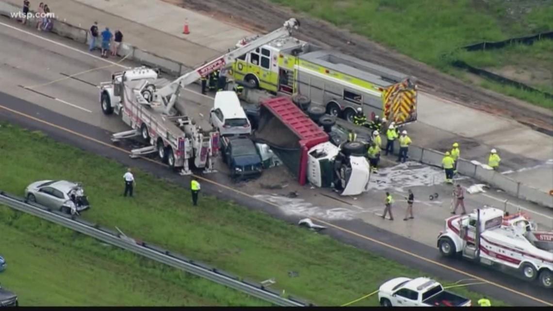 Deadly crash involving dump truck shuts down I-75 southbound   10News WTSP