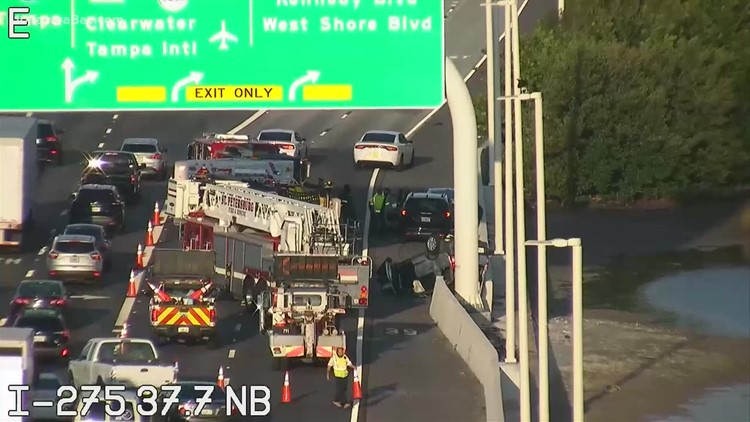 Right lanes blocked on I-275 North near Howard Frankland Bridge due to crash