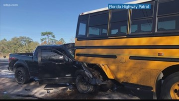 1 person dead, children taken to hospital after truck hits school bus in Hernando County
