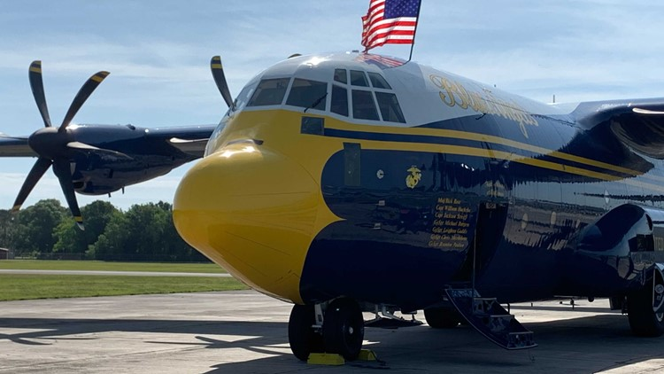 The Blue Angels newly acquired 'Fat Albert' plane on display at SUN n' FUN
