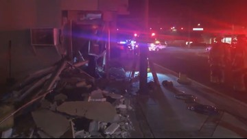 2 people hurt after truck crashes into Largo building