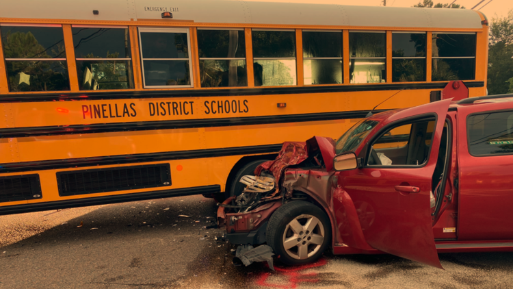 Driver injured after school bus crash with students on board in Clearwater, police say