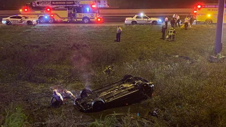 Hillsborough sheriff's deputies rescue driver in overturned vehicle