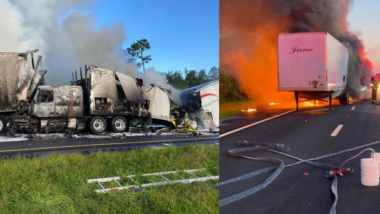 Fiery semi-truck crash shuts down Florida's Turnpike in Osceola County