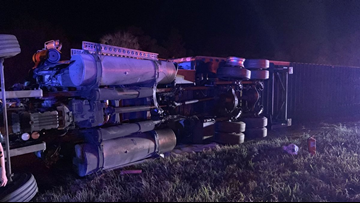 Overturned semi closes all lanes of US 19