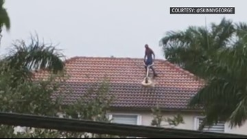 Florida man dons Spider-Man suit, power washes roof