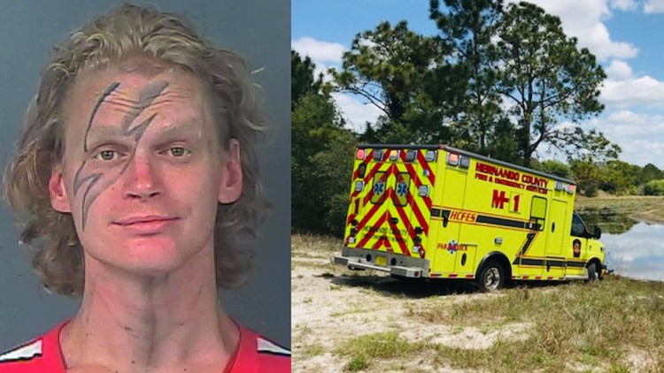Sheriff: Man steals ambulance from hospital during patient drop-off, gets it stuck in the mud