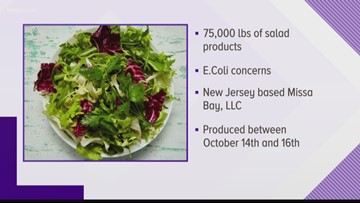 RECALL ALERT: More than 75,000 pounds of bagged salads could have E. Coli