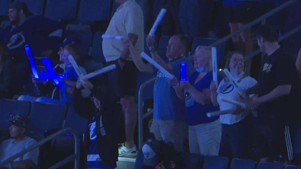 Lightning fans cheer on Tampa Bay at Amalie Arena as the 'Distant Thunder'