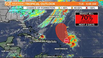 Tropical disturbance has a 70-percent chance of development