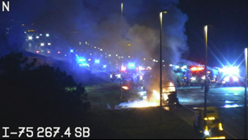 Semi-truck fire closes all I-75 southbound lanes in Hillsborough County