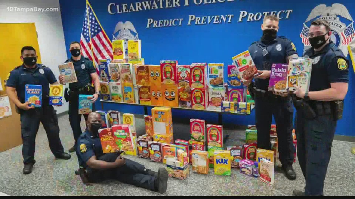 Clearwater police collect hundreds of boxes of cereal for hungry children