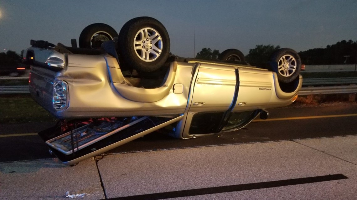 Swerving SUV causes truck to overturn on I-75, troopers say