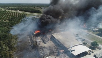 Drone footage of destructive wildfire in Highlands County