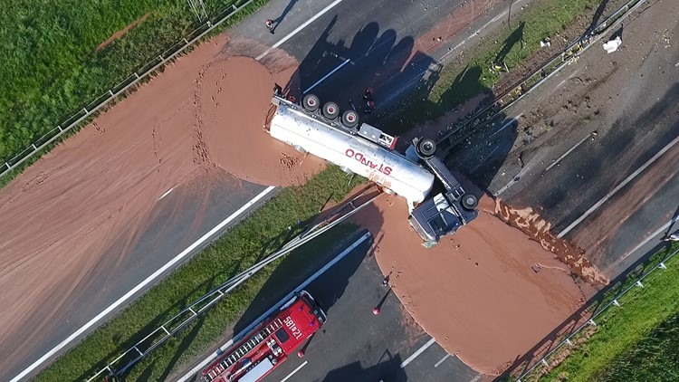 A sticky mess: tons of liquid chocolate spills onto Polish highway