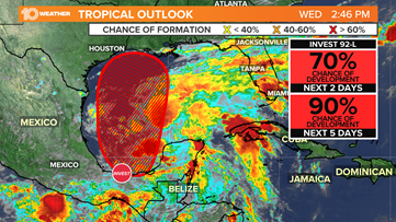 A tropical cyclone, possibly Tropical Storm Claudette, likely to develop in the Gulf