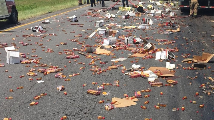 Large amount of Fireball whiskey spills across Arkansas interstate