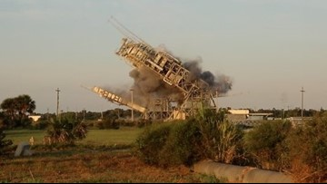 Launch towers tumble at Cape Canaveral's historic Complex 17