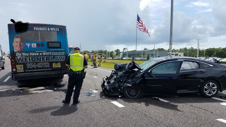 The car's driver suffered life-threatening injuries.