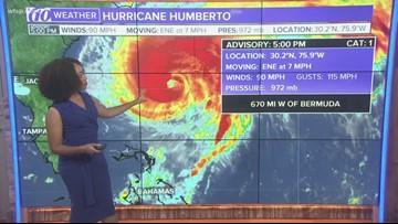 Hurricane Humberto packing 90 mph-winds