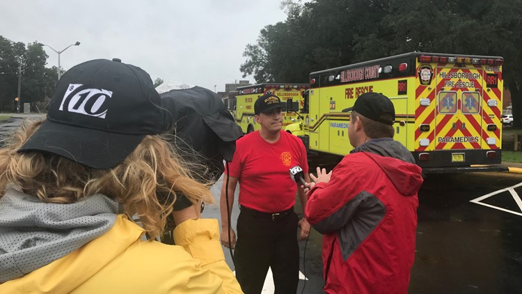 A 12-member strike team of firefighter paramedics representing the Hillsborough, Pasco and Temple Terrace fire departments left from Tampa on Tuesday.