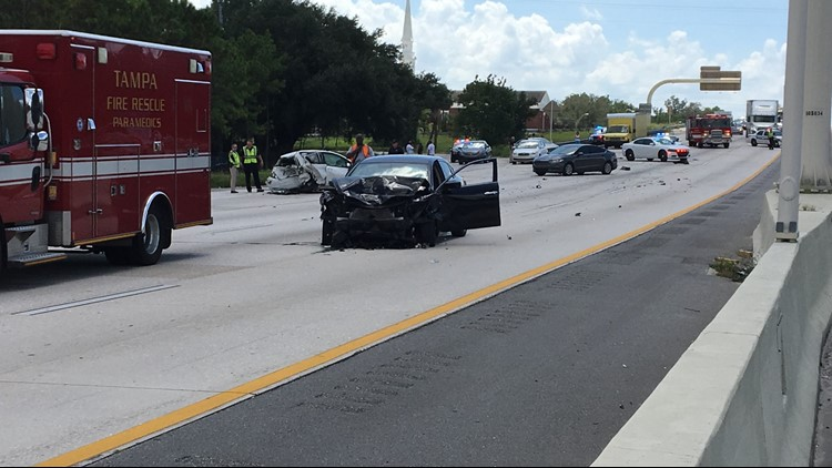 Multi-car crash shuts down NB I-275 near Hillsborough Avenue in